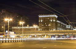 Traffic of cars in Moscow city center at night Prospekt Mira, Russia Royalty Free Stock Image
