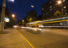 Traffic of cars in Moscow city center at night, Russia. Royalty Free Stock Photos
