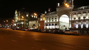 Traffic of cars in Moscow city center at night (Teatralny Proezd), Russia stock video footage