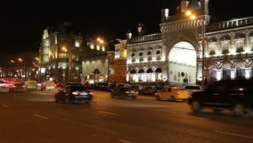 Traffic of cars in Moscow city center at night (Teatralny Proezd), Russia stock video