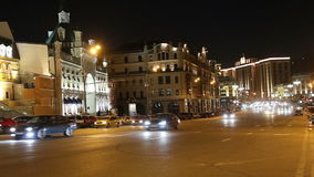 Traffic of cars in Moscow city center, Russia stock video footage