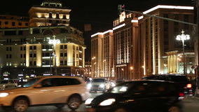Traffic of cars in Moscow city center, Russia stock video