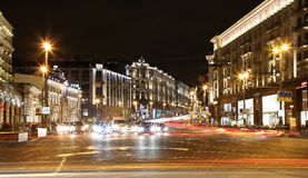 Traffic of cars in Moscow city center (Tverskaya Street near the Kremlin), Russia Royalty Free Stock Image