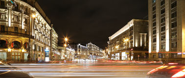 Traffic of cars in Moscow city center (Tverskaya Street near the Kremlin), Russia Royalty Free Stock Images