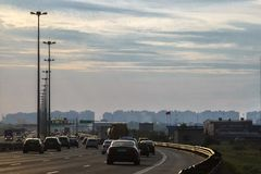 Traffic cars rushing into the city and out of town. Ring Road St. Petersburg July 2018 stock photo