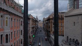 Traffic in the center of Genoa stock video footage