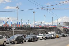Moscow, Russia - August 22, 2018: Cars near the Bolshoy Kamenny Bridge in Moscow royalty free stock photography