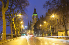 Traffic in Central London city, long exposure photo Royalty Free Stock Photo