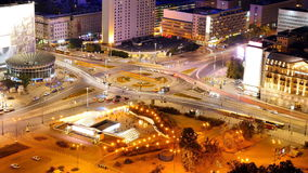 Traffic in central Warsaw at night stock footage