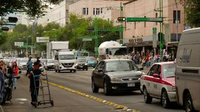 Traffic in centre of Mexico City stock video footage