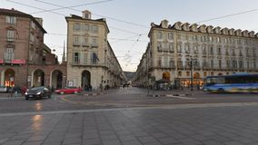 Traffic in the centre of Torino, Italy, on January 16, 2016 - Timelapse Video. Torino, Italy - January 16, 2016: (Timelapse Video) People walking and shopping in stock video footage