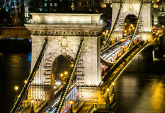Traffic on Chain Bridge in Budapest Stock Photos