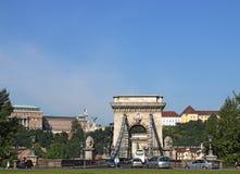 Traffic on chain bridge Budapest Royalty Free Stock Image