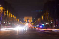 Traffic in the champ elysees,Paris ,France Royalty Free Stock Photos