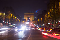 Traffic in the champ elysees,Paris ,France Royalty Free Stock Images
