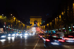 Traffic in the champ elysees,Paris ,France Royalty Free Stock Photography