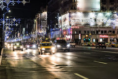 Traffic On Christmas Eve Downtown Of Bucharest City Stock Image