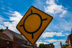 Traffic Circle Ahead Sign Royalty Free Stock Images