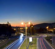Traffic circle by night Stock Images