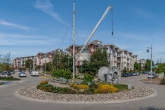 Traffic Circle in Steveston. RICHMOND, CANADA - AUGUST 22: A nautically-themed traffic circle on August 22, 2013 in Steveston Village, Richmond, British Columbia Royalty Free Stock Image