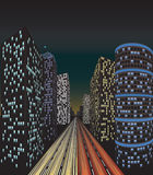 Traffic in city. At night Royalty Free Stock Photos