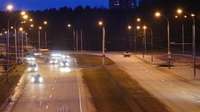 Traffic in the city. Avenue Time-Lapse. Traffic in the city. Long Exposure Time Lapse of Night Traffic in Vilnius, Lithuania. High-angle view from a bridge stock footage
