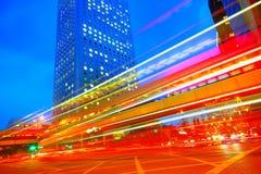 Traffic city dusk Royalty Free Stock Photo