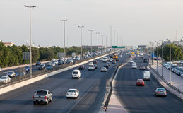 Traffic on the city highway in Kuwait Royalty Free Stock Photos