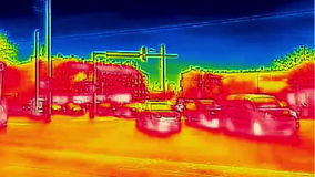 Traffic in the city Infrared thermal video stock video footage