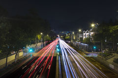 Traffic in city at night Stock Photo