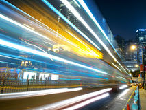 Traffic in City at Night. Traffic night in amazing city of Hong Kong Royalty Free Stock Photo