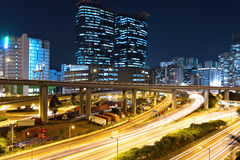 Traffic in city at night Royalty Free Stock Photography