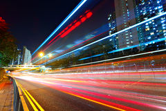 Traffic at city in night Stock Photo