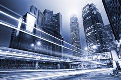 Traffic through city at night Royalty Free Stock Image