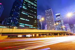 Traffic in city at night Stock Image