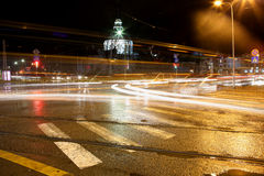 Traffic in city at night Royalty Free Stock Photos