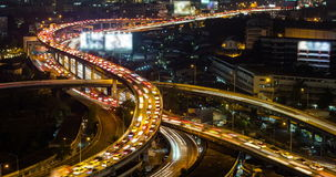 Traffic and City at night in Bangkok stock video footage
