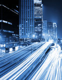Traffic at city in night Stock Image