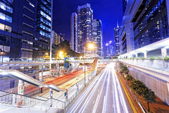 Traffic in city at night Stock Photography