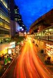 Traffic city night,skytrain in Bangkok, Thailand Royalty Free Stock Photos