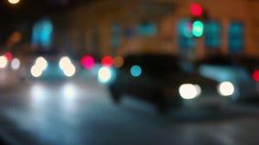 Traffic City Night Slow Motion Defocused. Video. Sait Petersburg, Russia stock video