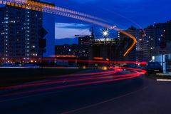 Traffic in city at night royalty free stock image