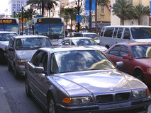 Traffic City Traffic in Major City Downtown Area. Traffic-City Traffic in Major City Downtown Area Pollution, Cars Stopped in Traffic Congestion Stock Photography
