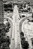 Traffic in the city, urban scene, black and white photo Royalty Free Stock Images