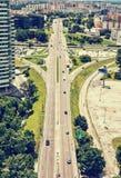 Traffic in the city, urban scene, retro photo filter Stock Photo