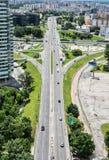 Traffic in the city, urban scene stock photo