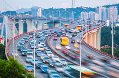 Traffic closeup on bridge Royalty Free Stock Images