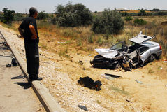 Traffic collision in Israel. ASHKELON,ISR - JUNE 10:Car accident on June 10 2008.According to the World Health Organization:1.2M people are killed in traffic Stock Images