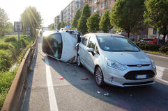 Traffic collision in urban area Royalty Free Stock Photos