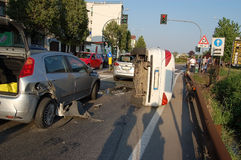 Traffic collision in urban area Stock Images